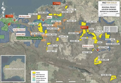 Figure 2: Pacton Regional Project Location Plan & Artemis Radio Hill Processing Facility (CNW Group/Pacton Gold Inc.)