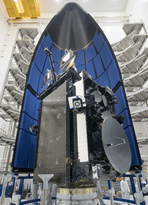 U.S. Air Force's fourth Lockheed Martin-built AEHF satellite is encapsulated in its launch fairings prior to lift off from Cape Canaveral Air Force Station.