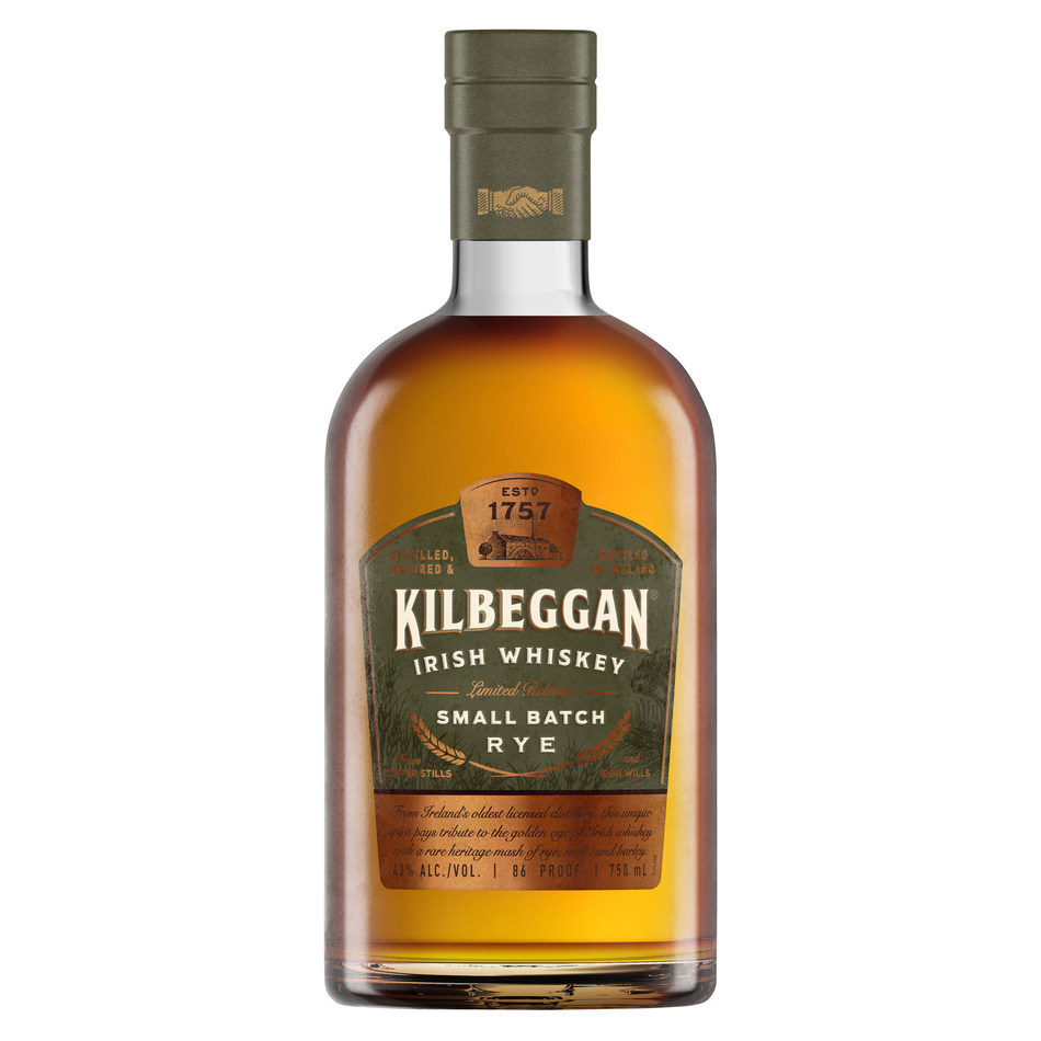 Kilbeggan Distilling Company introduces a new style of Irish Whiskey dating nearly 100 years in Kilbeggan® Small Batch Rye. This limited-edition Irish whiskey will be available in the United States in mid-November 2018 with a suggested retail price of $34.99 (43% ABV, 750ml). Photo credit: Beam Suntory.