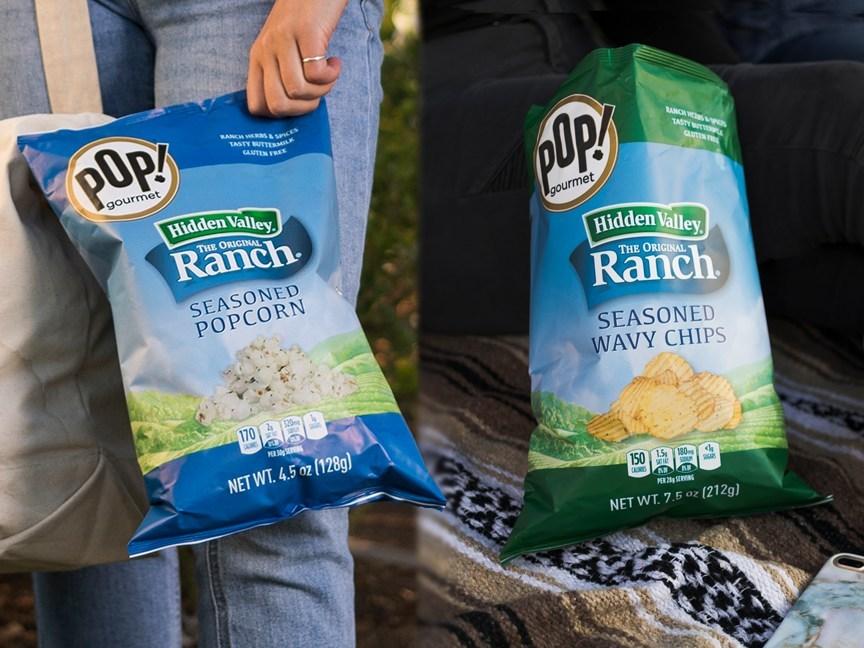 Hidden Valley® Ranch Seasoned Popcorn (Left) and Wavy Chips (Right)