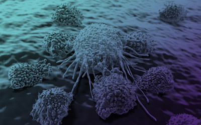 T cell attacking a cancer cell