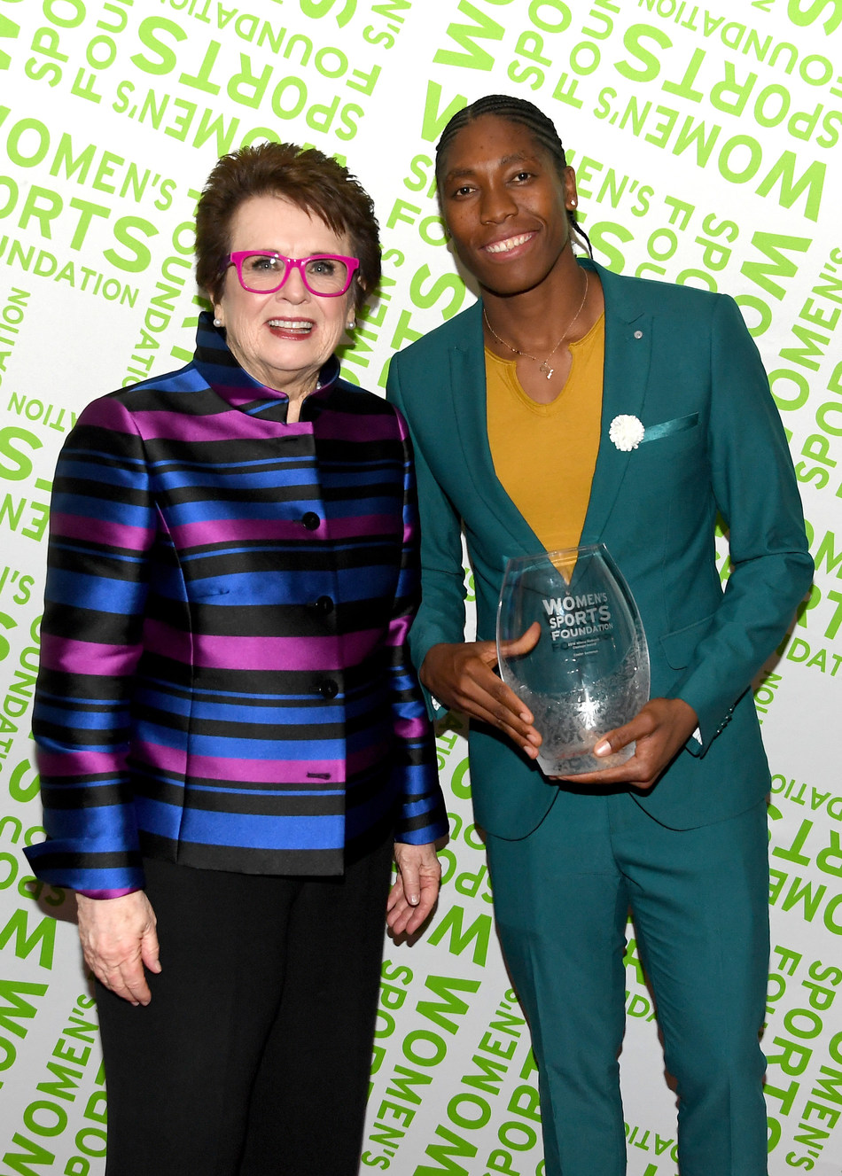 Billie Jean King and Caster Semenya attend The Women's Sports Foundation's 39th Annual Salute To Women In Sports Awards Gala - Inside on October 17, 2018 in New York City. (Photo by Nicholas Hunt/Getty Images for Women's Sports Foundation)