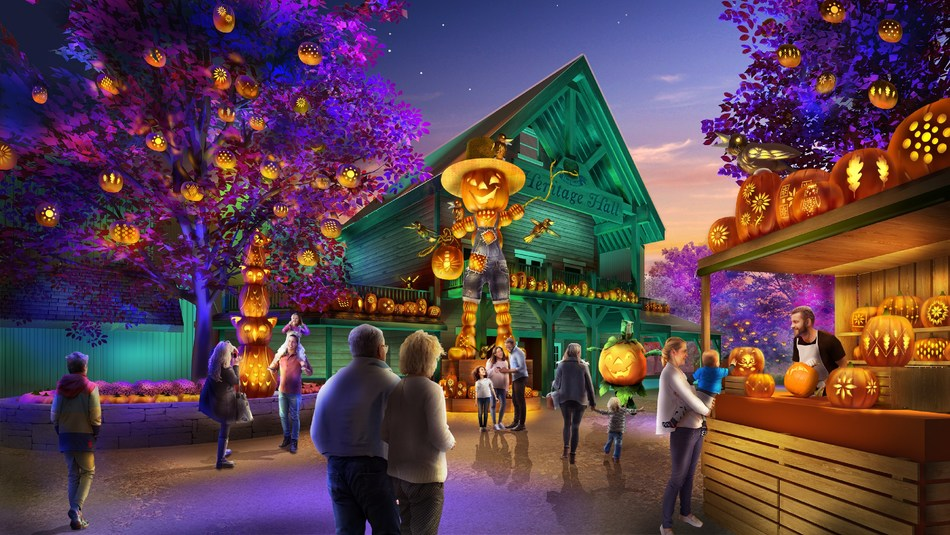 New for Fall 2019, Silver Dollar City presents Pumpkin Nights, an evening lighting event with thousands of pumpkin creations and larger-than-life icons including giant scarecrows, cats, owls and other characters shining in the dark.