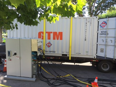 Behind the generator (left, foreground), which uses natural gas to provide the electrical needs for the compressed natural gas (CNG) compressor and the control panel, is the 9-bottle storage trailer for the tanks of CNG captured by the system.