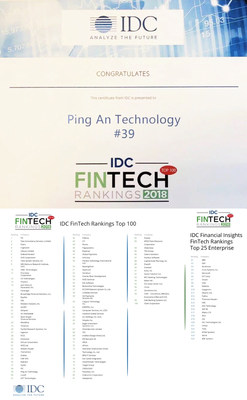 Ping An Technology once again selected into the 2018 IDC Financial Insights FinTech Ranking Top 100 list, ranking 39th