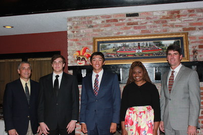 L to R: CITGO General Manager Operations and Maintenance, Marshall Watkins Richard Robicheaux, Scholarship Recipient; Noah LeJeune, Scholarship Recipient; Shekinah Jordan, Scholarship Recipient; CITGO Vice President and General Manager, Jerry Dunn at the CITGO Scholarship Banquet.
