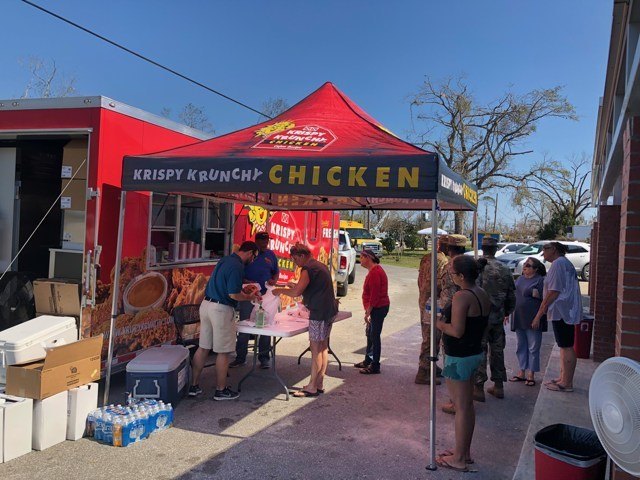 Krispy Krunchy Chicken® Hurricane Michael Relief at Waller Elementary School, Youngstown, FL
