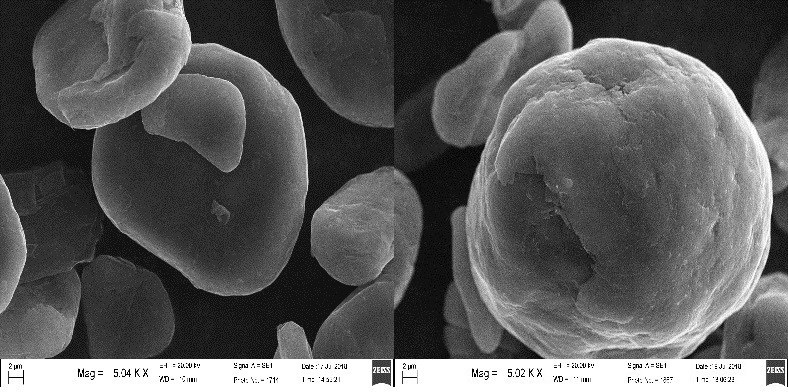 Figure 1 - SEM image of spheronised graphite particles (CNW Group/Leading Edge Materials)