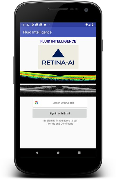 RETINA-AI Fluid Intelligence Android device uses AI to detect macula edema and subretinal fluid on OCT scans.