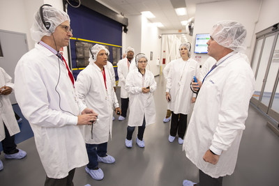 Heroes MAKE America students tour Allergan's Waco Plant with Carolyn Lee, Executive Director of the Manufacturing Institute.