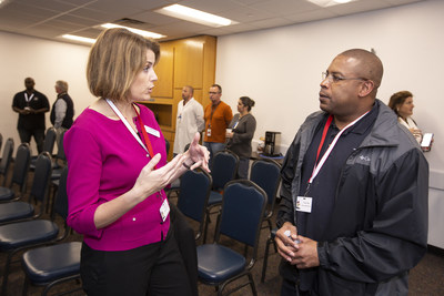 Manufacturing Institute Executive Director Carolyn Lee and a Heroes MAKE America student visit Allergan's Waco Plant.