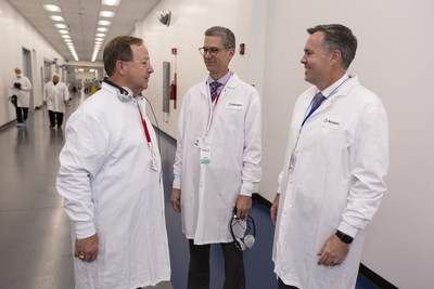 U.S. Representative Bill Flores of Texas, a member of the House Veterans' Affairs Committee, tours Allergan's Waco Plant with Wayne Swanton, Allergan EVP Global Operations and James Hamilton, Allergan Waco Plant General Manager & VP.