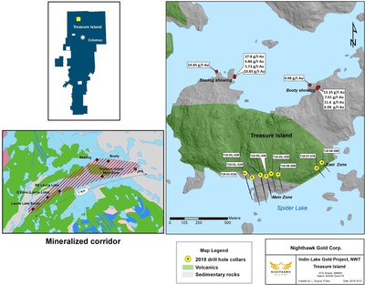 Figure 1.  Plan View – Treasure Island Drillhole Location and Regional Setting (CNW Group/Nighthawk Gold Corp.)