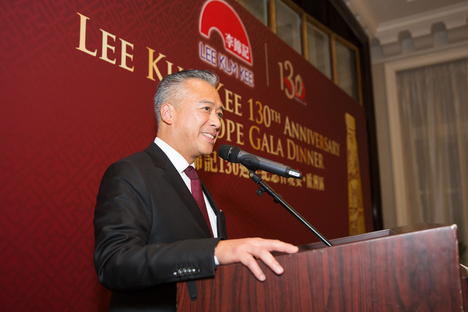 Lee Kum Kee Sauce Group Chairman Mr. Charlie Lee delivers a speech at the 130th Anniversary Europe Gala Dinner