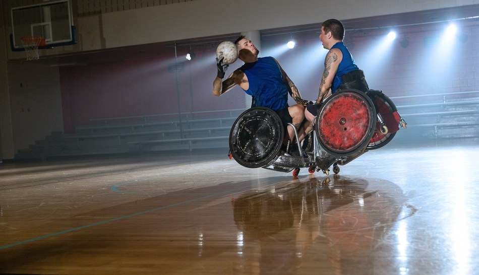 PVA member and U.S. Army veteran Mason Symons (pictured left) from Pine Grove, Pennsylvania, playing wheelchair rugby.