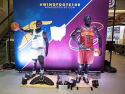 To celebrate the century milestone, Goodyear and the Cavaliers unveiled two life-sized tire sculptures ahead of the team's home opener on Sunday, Oct. 21. The tire sculptures depict a 1918 Wingfoots player in historic attire next to a 2018 Cavs player, and will be stationed in the concourse at Quicken Loans Arena through the 2018-2019 basketball season.