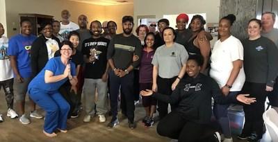Veterans partake in yoga session - veteran health and wellness