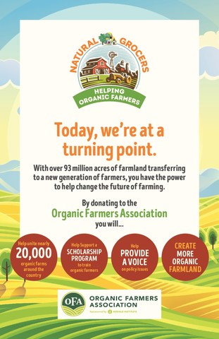 During Organic Harvest Month Natural Grocers customers raised $94,500 for the Organic Farmers Association.