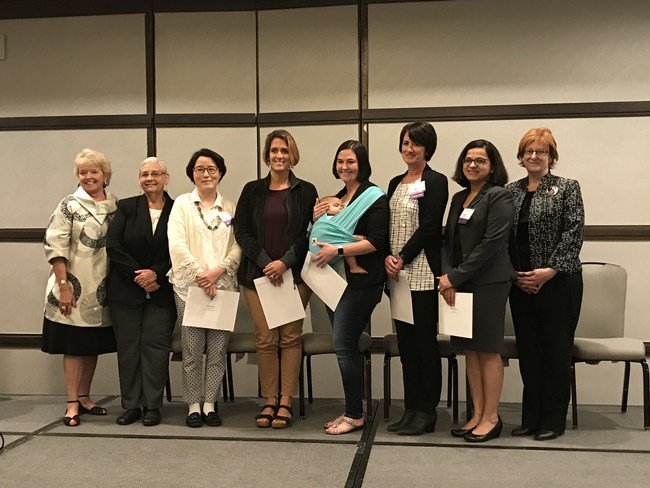 From left, CSUSM President Dr. Karen Haynes; Gary and Mary West Foundation Program Officer and Senior Director Brenda Schmitthenner; 2018 Seed Grant recipients Hyunjin Noh, MSW, PhD, Kristyn Pellecchia, PMHNP, Cara L. Wallace, PhD, LMSW, Kim Martz, PhD, RN, and Nidhi Mahendra, PhD, CCC-SLP; and CSU Institute for Palliative Care Executive Director Jennifer Moore Ballentine, right.