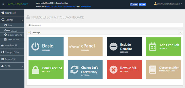 Admin dashboard of the 'FreeSSL.tech Auto' app to issue, renew and auto-install free SSL certificate in cPanel shared hosting.