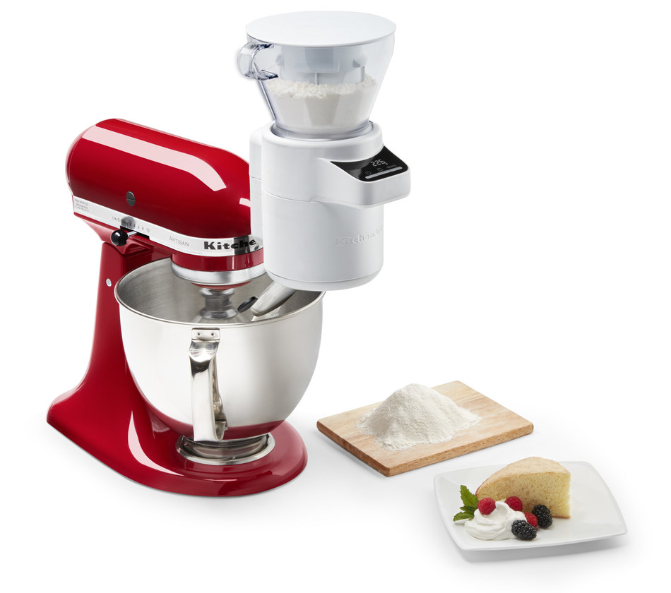 Simply attach the Sifter + Scale Attachment to the power hub of any KitchenAid® Stand Mixer to experience hands-free sifting as the sifter gradually incorporates ingredients into the mixer bowl.