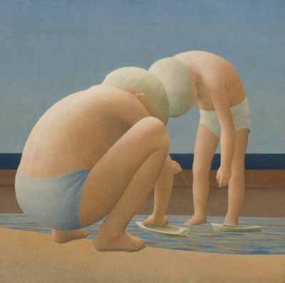 Internationally collected Alexander Colville shines in the Heffel auction with Two Boys Playing, a classic 1950s masterpiece (est. $600,000 – 800,000) (CNW Group/Heffel Fine Art Auction House)
