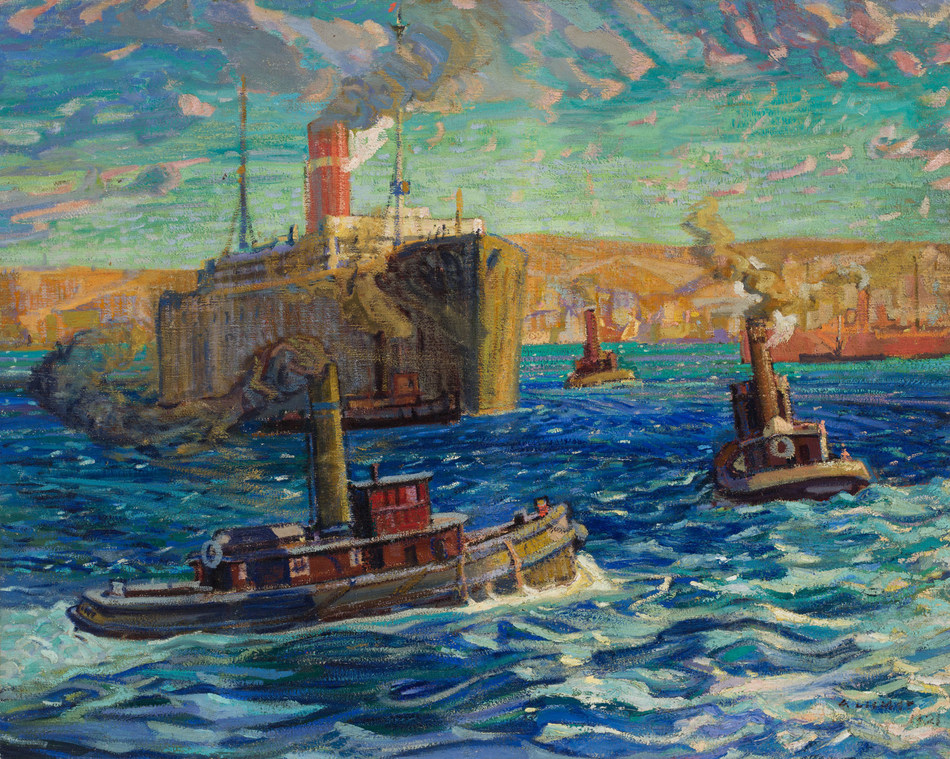 Arthur Lismer's monumental 1921 canvas Tugs and Troop Carrier, Halifax Harbour, Nova Scotia is a highlight in Heffel's fall sale (est. $700,000 – 900,000) (CNW Group/Heffel Fine Art Auction House)