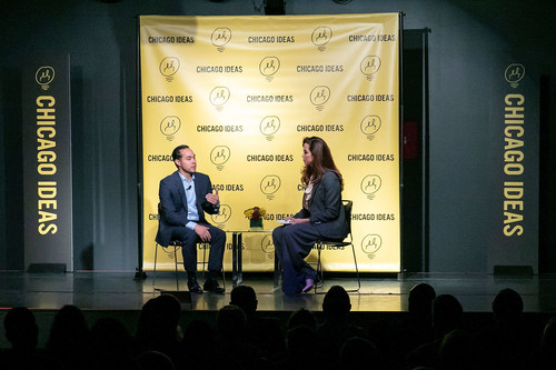 Claudia Romo Edelman of We Are All Human Foundation (R) and Julian Castro, former Secretary of Housing and Urban Development, discuss findings from the Foundation's Hispanic Sentiment Study at Chicago Ideas Week on October 20, 2018 in Chicago, Illinois. According to the Hispanic Sentiment Study, conducted by Zeno Group, Latinos are launching more new businesses, achieving higher levels of education, and reaching the C-suite of Fortune 500 companies in greater numbers than ever, but more than three-quarters of Latinos recently surveyed were surprised by at least one of these and other well-documented facts. For more information, visit www.WeAreAllHuman.org. (Photo by Jeff Schear/Getty Images for We Are All Human Foundation)