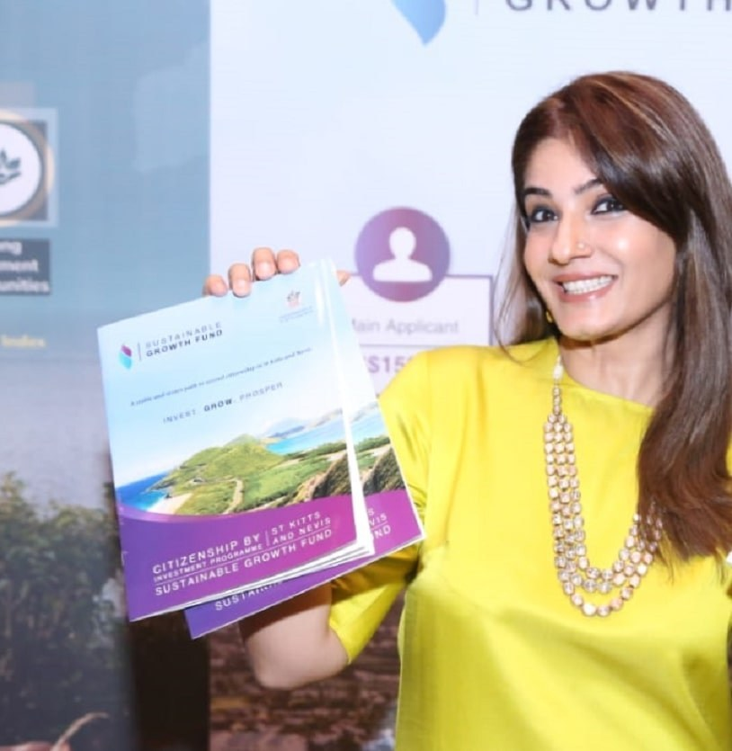 Raveena Tandon at the St Kitts and Nevis display at GIIS 2018 (PRNewsfoto/CS Global Partners)