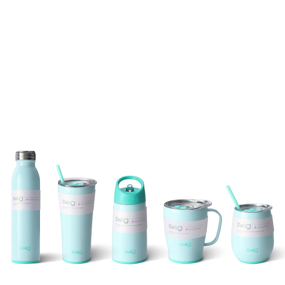 SWIG is available in six lifestyle colours, and includes Stemless wine/drinking cups, Mugs, Tumblers, Bottles & Kids' bottles (PRNewsfoto/Valerie Graham Ltd)