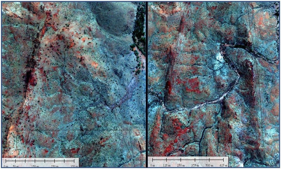 "Figure 6. ""Tip of the Spear"". Mount Roe Basalt showing resistant, steep edges (left). Further down the 10 km spearhead, the Mount Roe silicified edges are still prominent. Note the drainage dissection winding across the spear (right). This will assist stratigraphic sampling at surface. (CNW Group/Pacton Gold Inc.)"