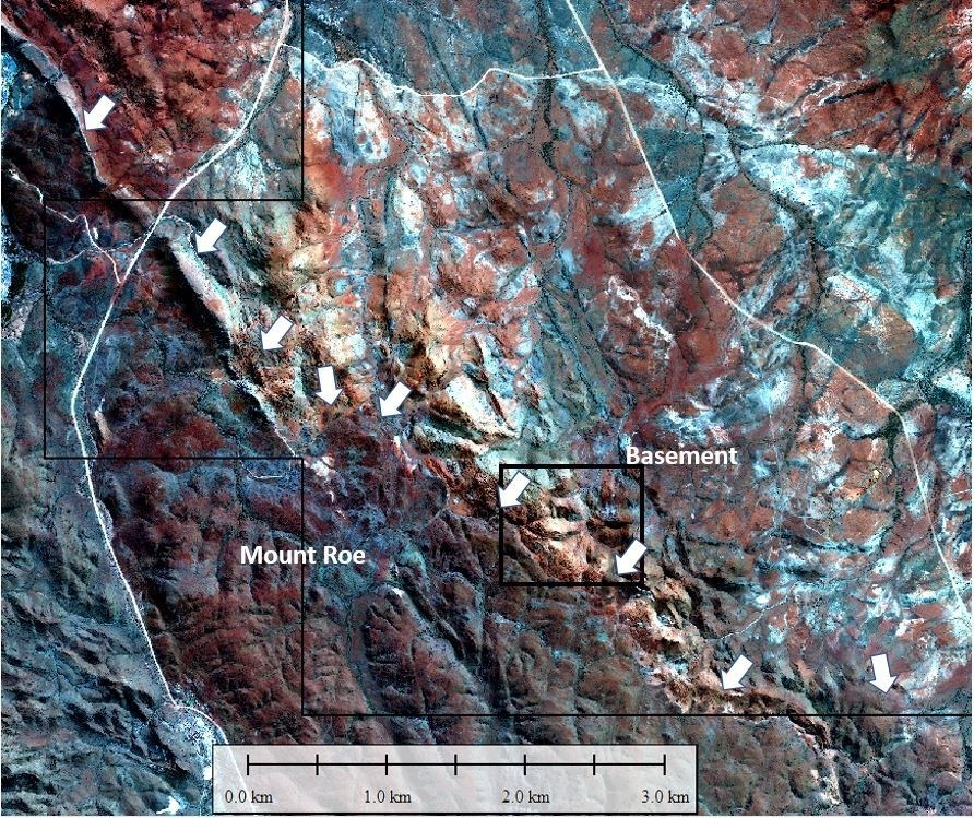 Figure 3. Section of distinct contact between Mount Roe Basalt and basement rocks. (CNW Group/Pacton Gold Inc.)