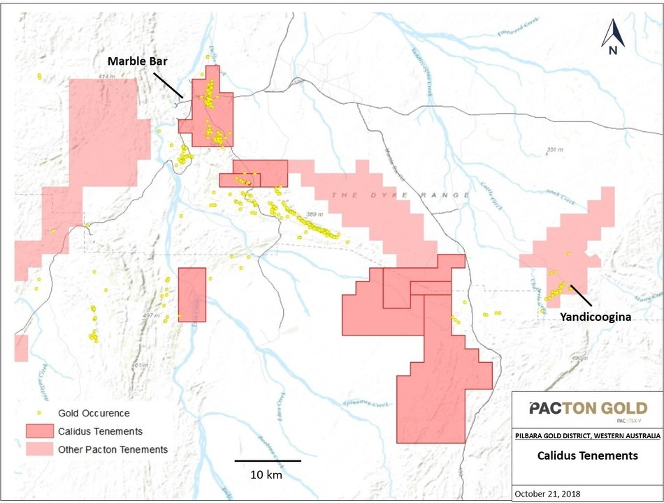 Figure 2. Location of Calidus tenements subject to Calidus-Pacton Agreement. (CNW Group/Pacton Gold Inc.)