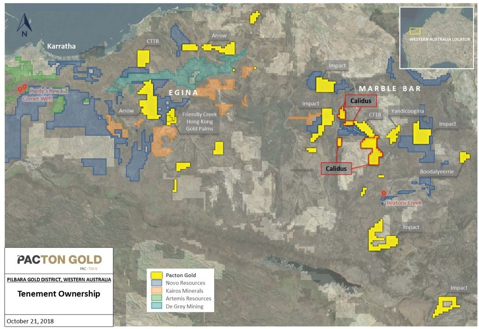 Figure 1. Pacton Pilbara Gold Exploration Projects (CNW Group/Pacton Gold Inc.)