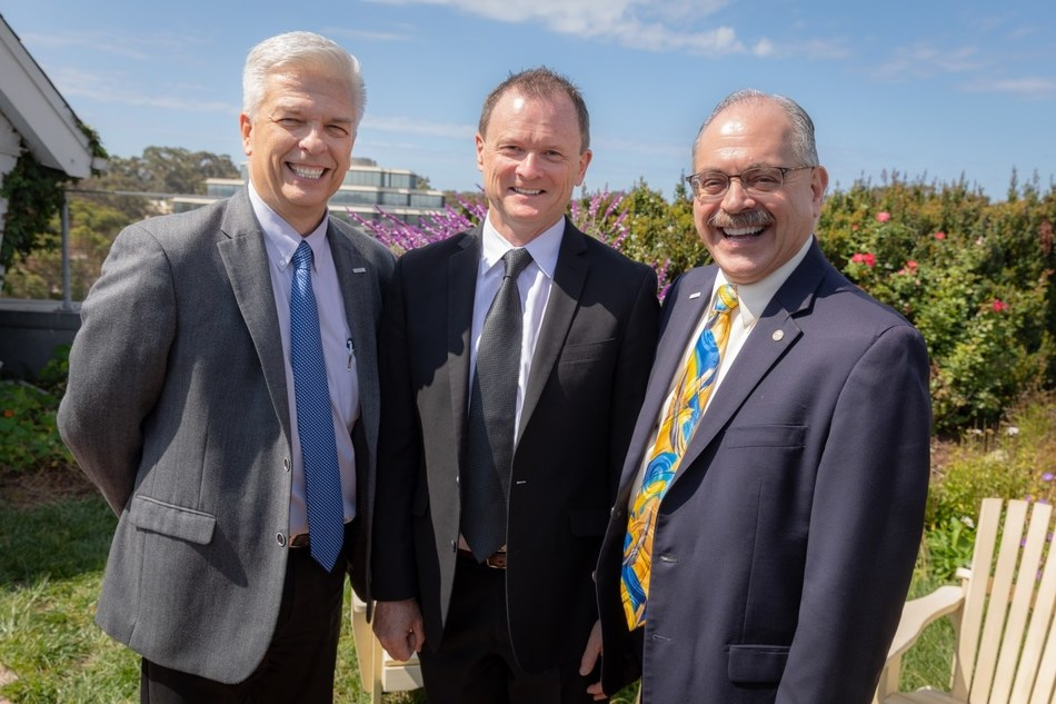 (Left to right): Dennis Abremski (executive director of the IGE), Conrad Burke (VP of new ventures at ISF), and Albert P. Pisano (dean of the Jacobs School of Engineering) at Fallen Star, an art piece at Jacobs Hall at UC San Diego.