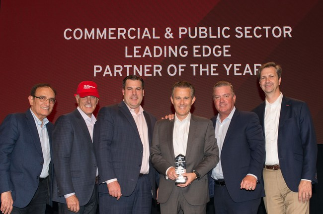 ORock Technologies executives accept the 2018 Red Hat Leading Edge Partner of the Year Award for Public Sector. From left to right: Arun Oberoi, Executive VP, Global Sales and Services, Red Hat; Paul Smith, Sr. VP & GM, Public Sector NA, Red Hat; Steve Robinson, Chief Commercial Officer, ORock Technologies; Gregory Hrncir, Co-Founder and CEO, ORock Technologies; Bill O'Neill, Chief Revenue Officer, ORock Technologies; and Michael Byrd, VP, US Public Sector Channel Sales, Red Hat.