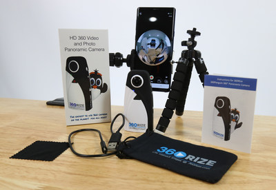 360Rize™ introduces the 360Penguin, an amazingly lightweight camera weighing only 2.6 ounces shooting 6K, 4K, 360° VR video and 24-megapixel 360 photos.  Shown here with box contents.