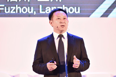 Michael Ma, presidente da linha de produtos Cloud Core Network da Huawei, lançando o serviço de  IoT na nuvem 2.0 na HUAWEI CONNECT 2018 (PRNewsfoto/Huawei)
