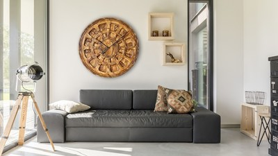 Large Handmade Wooden Wall Clock For Living Room