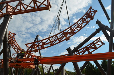 The serpentine track of Copperhead Strike is being installed at Carowinds; the coaster is the first double-launch roller coaster in the Carolinas.