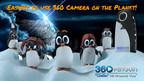 360Rize™ présente le 360Penguin, une caméra pesant seulement 74 grammes, poids plume, pour la prise de vues vidéos  6K, 4K, RV 360° et photos 24 mégapixels 360°. « Chillin » et sa famille de pingouins apprécient la facilité avec laquelle ils peuvent utiliser l'application mobile et diffusion facilement, en direct, des images sur Facebook et YouTube via le Wi-Fi cellulaire. Avec ses accessoires complémentaires, le 360Penguin peut diffuser en direct, en continu, indéfiniment, et se connecter à toute une gamme d'accessoires pour petites caméras d'action. (PRNewsfoto/360Rize)