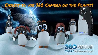 """A 360Rize™ lança a 360Penguin,uma câmera leve que pesa apenas 74 gramas e que filma vídeos de 6K, 4K, e RV (VR – Virtual Reality) em 360° e tira fotos em 360 graus de 24 megapixels. """"Chillin"""" e a família Pinguim gostam de como é fácil usar seu aplicativo móvel e transmitir facilmente diretamente para o Facebook e para o YouTube através de Wi-Fi móvel. Quando seus acessórios complementares estão conectados, a 360Penguin pode transmitir ao vivo infinitamente e se conectar a uma série completa de pequenos acessórios de câmera de ação. (PRNewsfoto/360Rize)"""