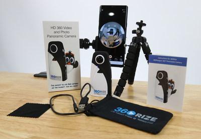 A 360Rize™ lança a 360Penguin, uma câmera incrivelmente leve que pesa apenas74 gramas e que filma vídeos de 6K, 4K, e RV (VR – Virtual Reality) em 360° e tira fotos em 360 graus de 24 megapixels. Mostrada aqui com os conteúdos da caixa. (PRNewsfoto/360Rize)