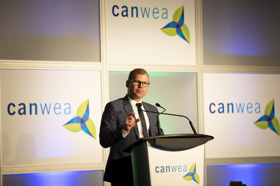 The Honourable Dustin Duncan, Saskatchewan's Minister of Environment and Minister Responsible for SaskPower, at CanWEA 2018, reaffirming his government's commitment to wind energy as a pillar of its plan to double renewable electricity capacity by 2030. (CNW Group/Canadian Wind Energy Association)