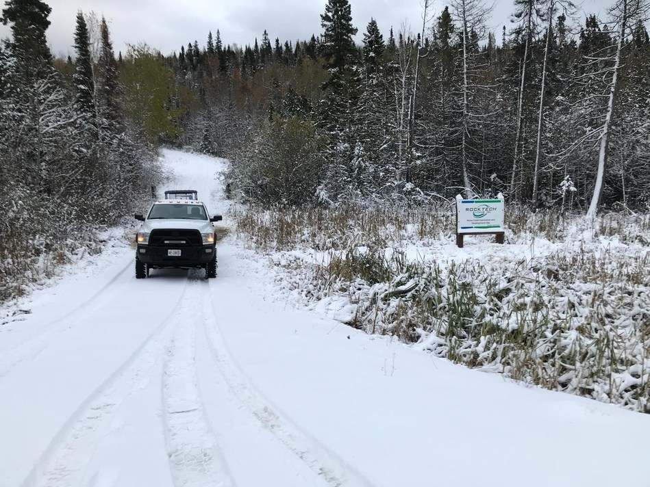 Trenching crew mobilizing to the Georgia Lake lithium project in Ontario, Canada (CNW Group/Rock Tech Lithium Inc.)