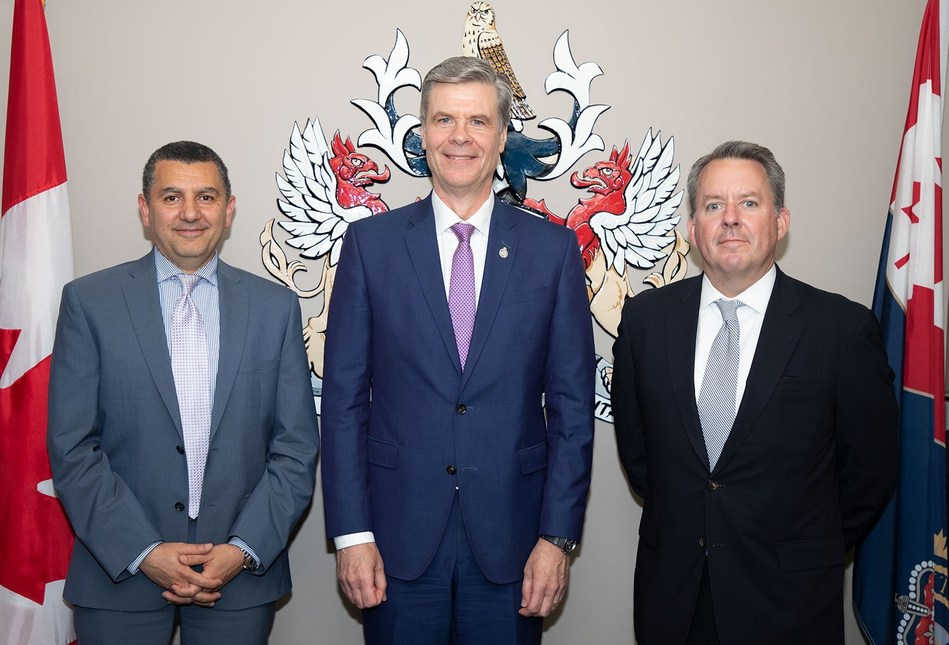 IBM Canada President, Ayman Antoun, CBSA President, John Ossowski, and Maersk Canada President, Jack Mahoney, after signing the agreement for the CBSA's pilot of TradeLens. (CNW Group/IBM)
