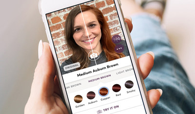 """The Madison Reed """"Try On"""" tool has a split screen with a fun, built-in slider that allows users to toggle between their current hair color and the virtual shade."""