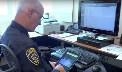 The SJSU University Police Department gathering real-time information via the V5 App, designed for mobile and easy-to-access situational awareness.