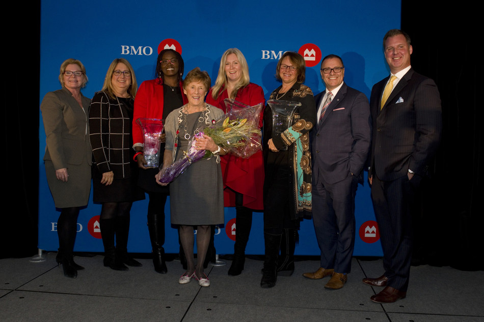 Roxanne Bouchard, VP and Market Manager, BMO; Alexandra Dousmanis-Curtis, Head, Canadian Sales and Distribution, North American Personal & Business Banking, BMO; Dr. Penina Lam – Innovation & Global Growth Honouree; Sharon Johnston, Keynote Speaker; Tara Shannon – Community & Charitable Giving Honouree; Tammy Giuliani – Expansion & Growth in Small Business Honouree; Victor Pellegrino, SVP Eastern, Central & Northern Ontario Division, BMO; Jeff Hill, Branch Manager, VP & Managing Director, BMO (CNW Group/BMO Financial Group)