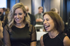 """Technology reporter Amber Mac, left, and Jodie Wallis, Managing Director of Accenture's AI practice in Canada, co-hosts of the number one Canadian business news podcast, """"The AI Effect"""", talk with guests at a Season 2 launch party in Toronto, Ont. on Wednesday, October 24, 2018.  THE CANADIAN PRESS IMAGES/J.P. Moczulski (CNW Group/Accenture)"""